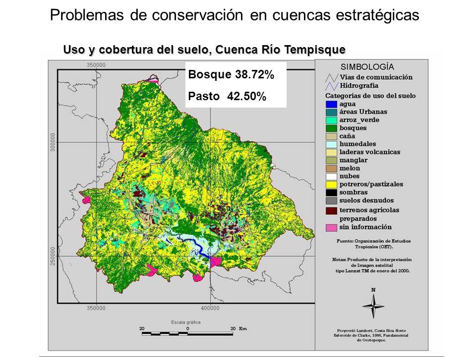 Problemas de conservación en cuencas estratégicas Bosque 38.72%Pasto 42.50% Uso y cobertura del suelo, Cuenca Río Tempisque