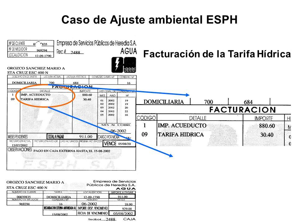 Facturación de la Tarifa Hídrica Caso de Ajuste ambiental ESPH Facturación de la Tarifa Hídrica