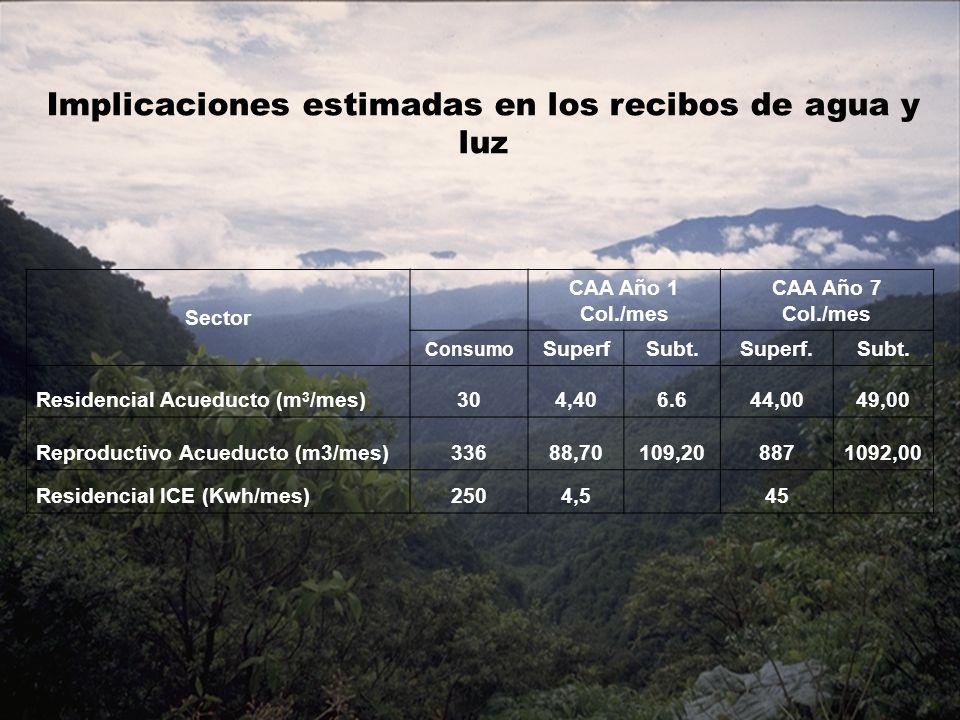 Sector CAA Año 1 Col./mes CAA Año 7 Col./mes Consumo SuperfSubt.Superf.Subt. Residencial Acueducto (m 3 /mes)304,406.644,0049,00 Reproductivo Acueduct
