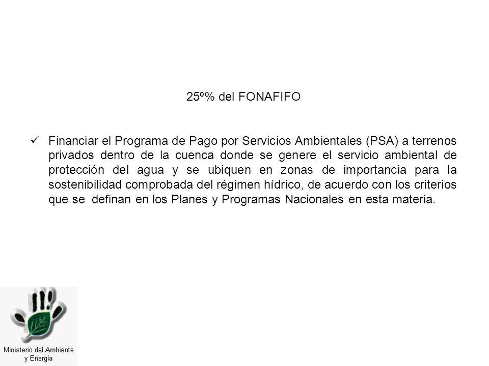 25º% del FONAFIFO Financiar el Programa de Pago por Servicios Ambientales (PSA) a terrenos privados dentro de la cuenca donde se genere el servicio am