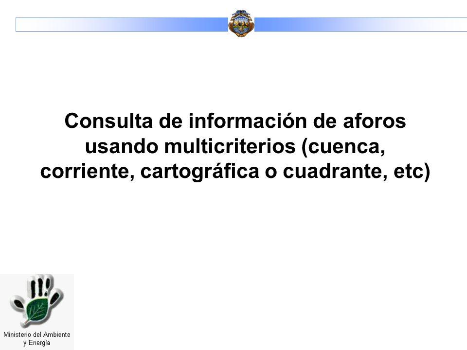 Consulta de información de aforos usando multicriterios (cuenca, corriente, cartográfica o cuadrante, etc)