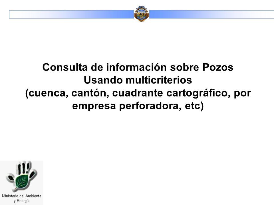 Consulta de información sobre Pozos Usando multicriterios (cuenca, cantón, cuadrante cartográfico, por empresa perforadora, etc)
