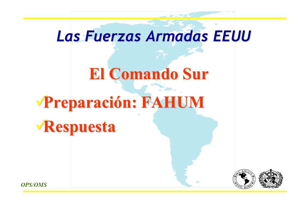 OPS/OMS Las Fuerzas Armadas EEUU El Comando Sur Preparación: FAHUM Preparación: FAHUM Respuesta Respuesta