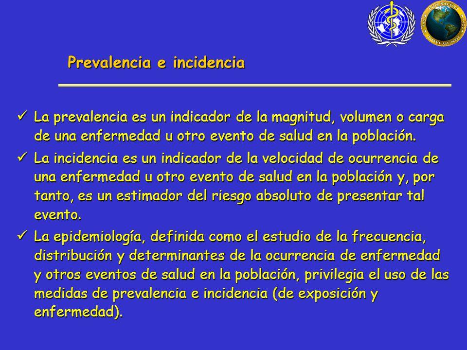 Prevalencia e incidencia La prevalencia es un indicador de la magnitud, volumen o carga de una enfermedad u otro evento de salud en la población.