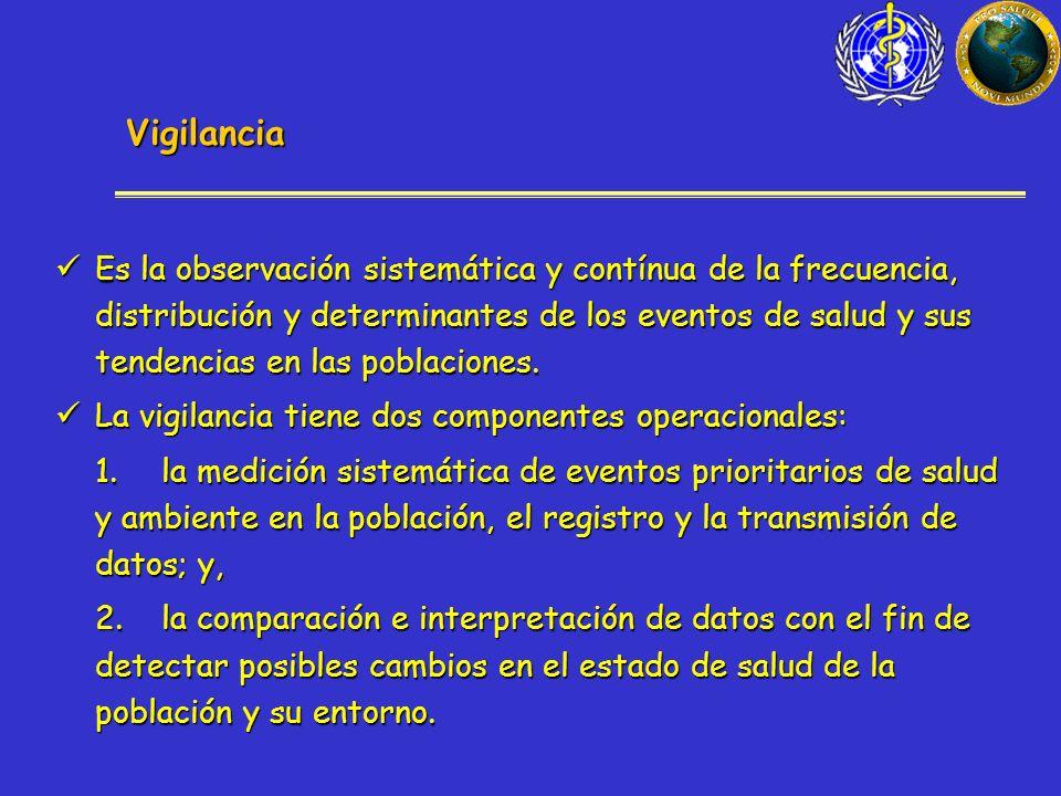 Vigilancia Es la observación sistemática y contínua de la frecuencia, distribución y determinantes de los eventos de salud y sus tendencias en las poblaciones.