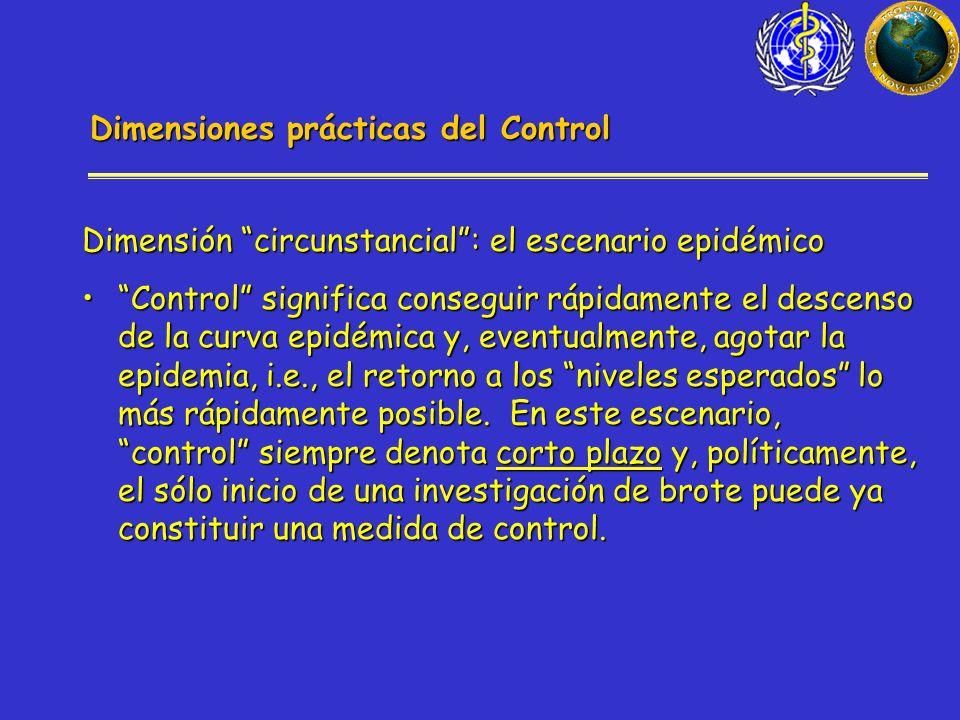 Dimensiones prácticas del Control Dimensión circunstancial: el escenario epidémico Control significa conseguir rápidamente el descenso de la curva epidémica y, eventualmente, agotar la epidemia, i.e., el retorno a los niveles esperados lo más rápidamente posible.