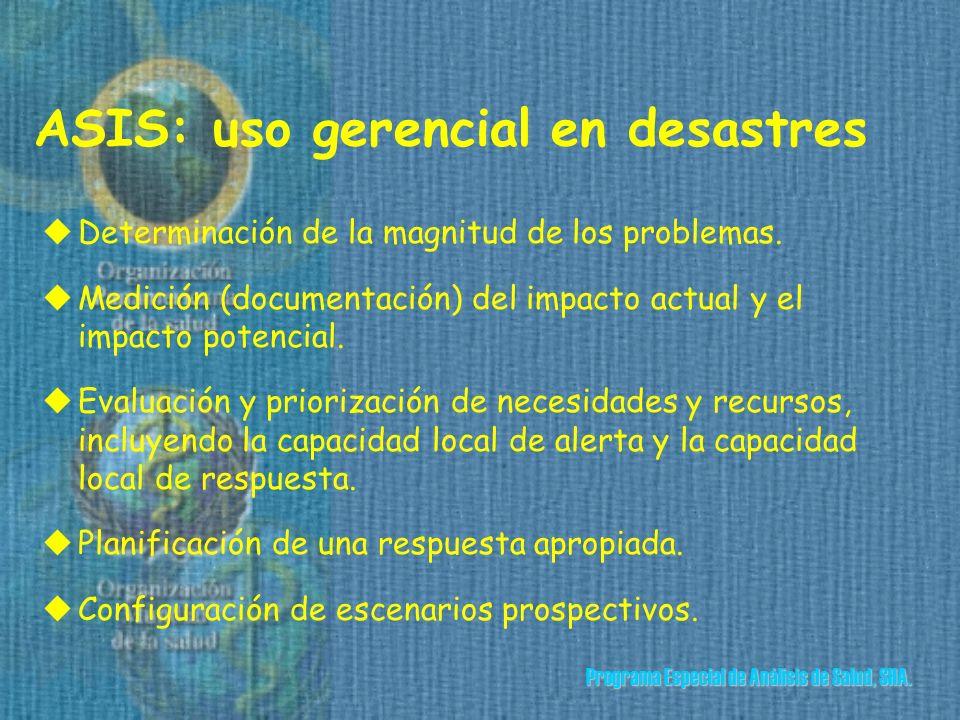 ASIS: uso gerencial en desastres uDeterminación de la magnitud de los problemas.