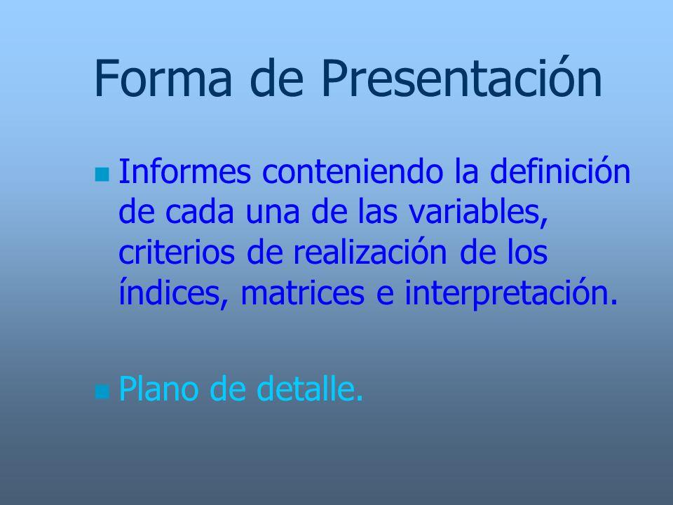 Forma de Presentación n Informes conteniendo la definición de cada una de las variables, criterios de realización de los índices, matrices e interpret