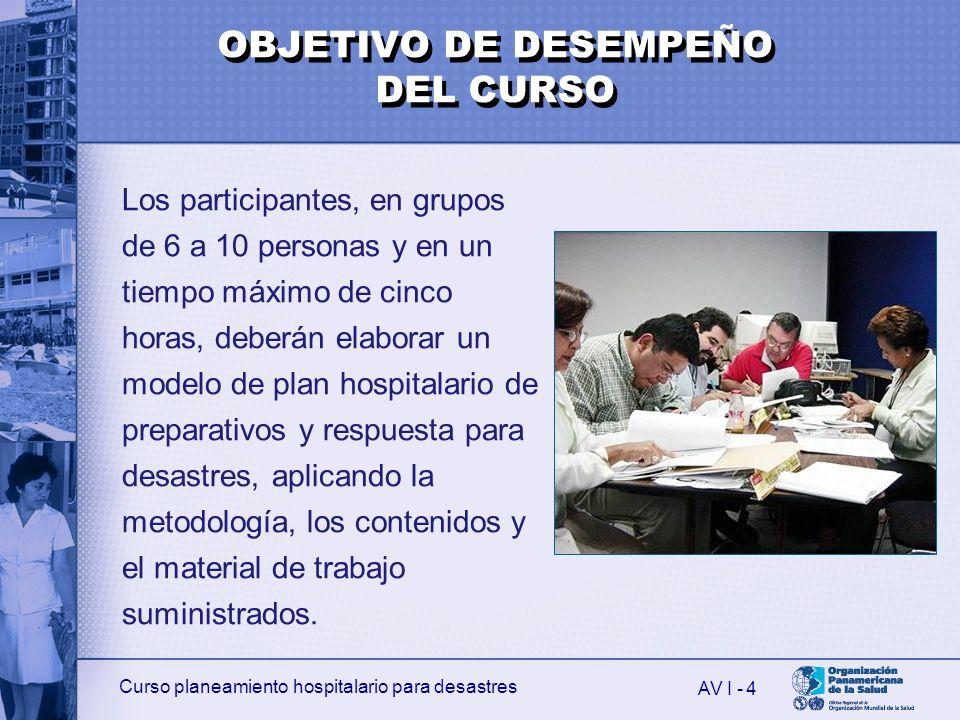 Curso planeamiento hospitalario para desastres AV I - 5 Al finalizar el Curso, el participante será capaz de: 1.Definir qué es un riesgo e identificar sus factores.