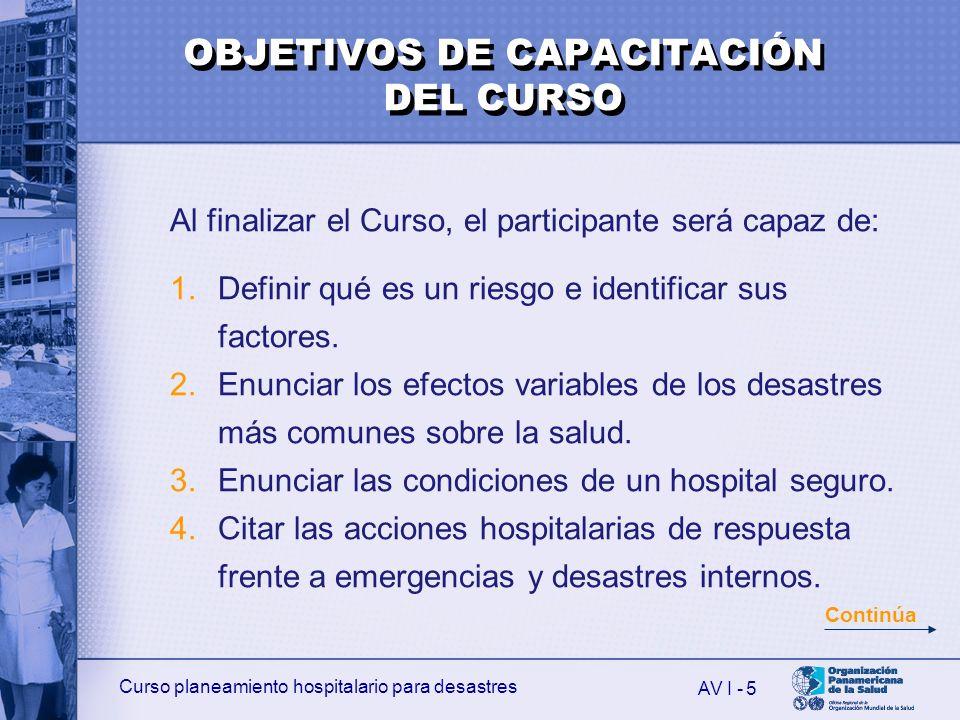 Curso planeamiento hospitalario para desastres AV I - 6 5.Describir las actividades hospitalarias de respuesta frente a desastres externos.