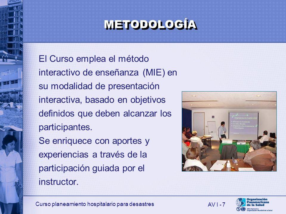 Curso planeamiento hospitalario para desastres AV I - 8 Al finalizar la introducción, el participante habrá recibido información sobre: 1.El propósito, los objetivos y la metodología del Curso.