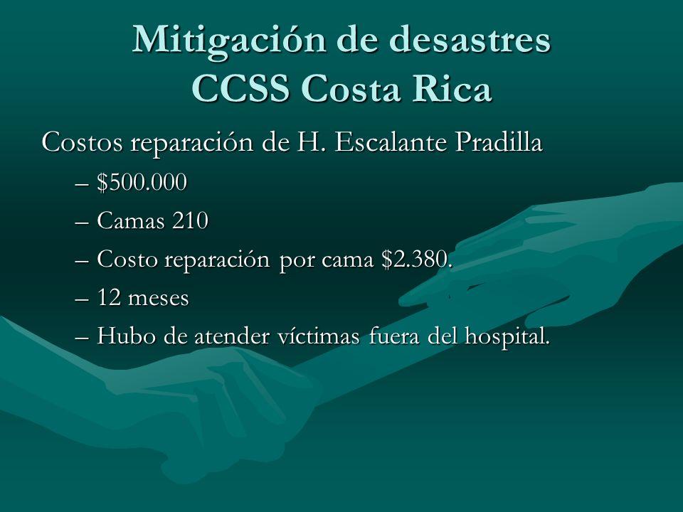 Costos reparación de H. Escalante Pradilla –$500.000 –Camas 210 –Costo reparación por cama $2.380. –12 meses –Hubo de atender víctimas fuera del hospi