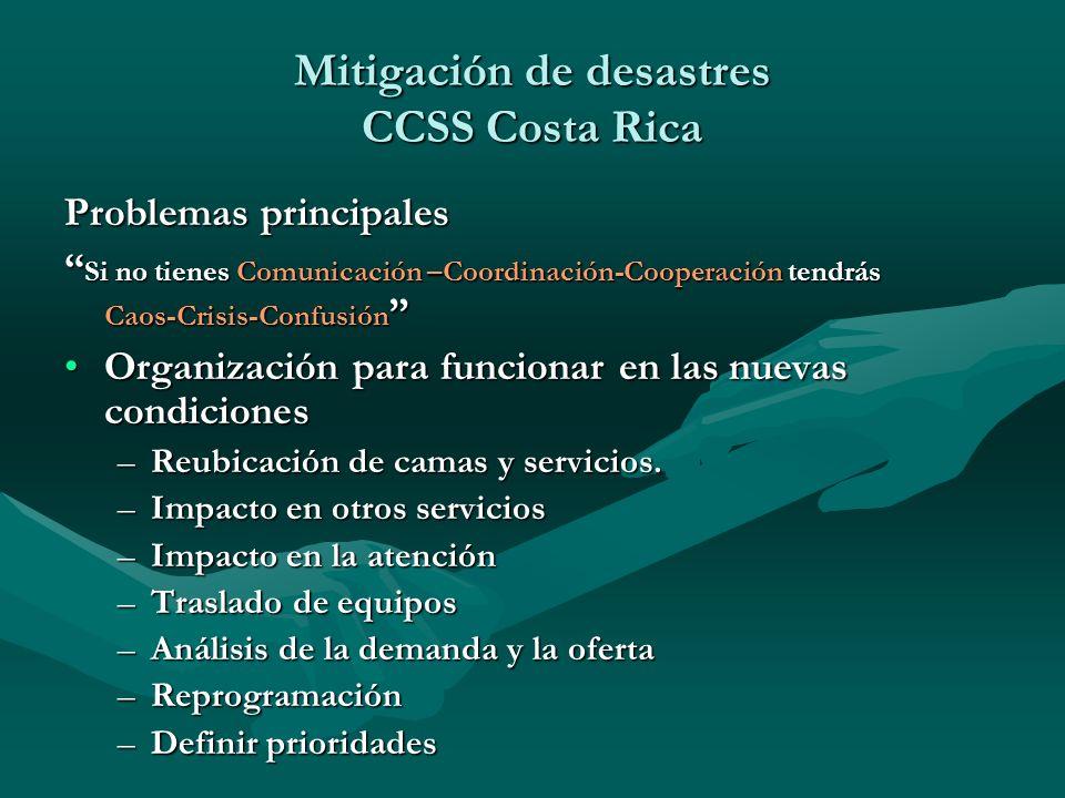 Problemas principales Si no tienes Comunicación –Coordinación-Cooperación tendrás Caos-Crisis-Confusión Si no tienes Comunicación –Coordinación-Cooper