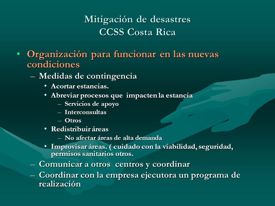 Organización para funcionar en las nuevas condicionesOrganización para funcionar en las nuevas condiciones –Medidas de contingencia Acortar estancias.
