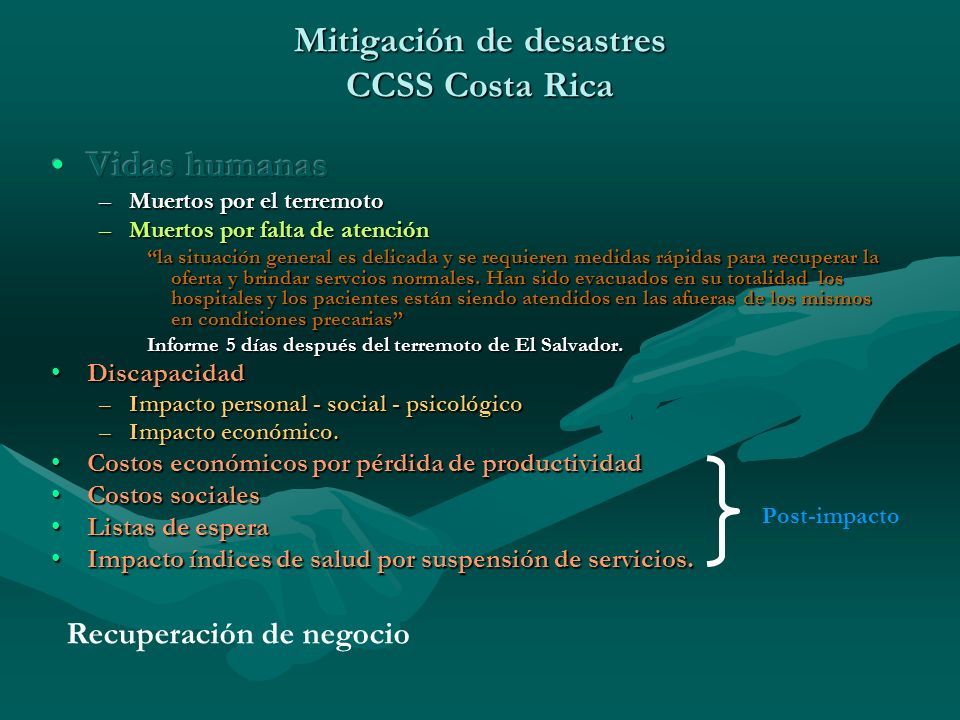 Mitigación de desastres CCSS Costa Rica Post-impacto Recuperación de negocio