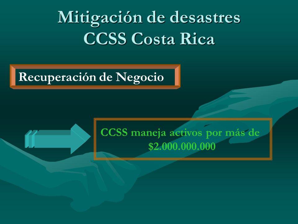 Recuperación de Negocio CCSS maneja activos por más de $2.000.000.000 Mitigación de desastres CCSS Costa Rica