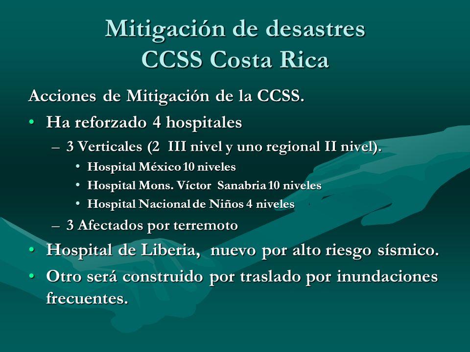 Acciones de Mitigación de la CCSS. Ha reforzado 4 hospitalesHa reforzado 4 hospitales –3 Verticales (2 III nivel y uno regional II nivel). Hospital Mé