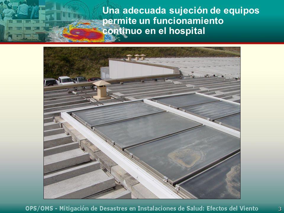 3 Una adecuada sujeción de equipos permite un funcionamiento continuo en el hospital