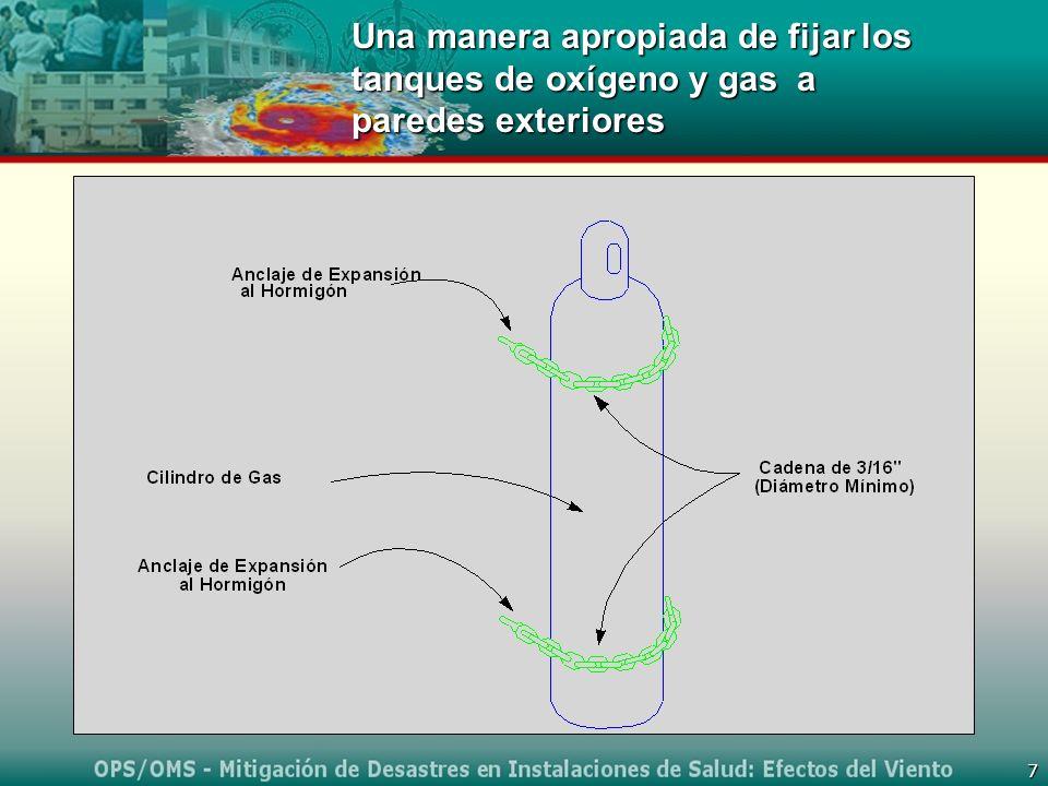 7 Una manera apropiada de fijar los tanques de oxígeno y gas a paredes exteriores