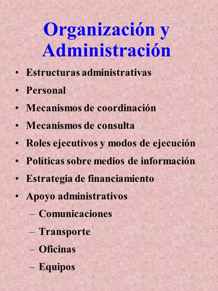 Organización y Administración Estructuras administrativas Personal Mecanismos de coordinación Mecanismos de consulta Roles ejecutivos y modos de ejecución Políticas sobre medios de información Estrategia de financiamiento Apoyo administrativos –Comunicaciones –Transporte –Oficinas –Equipos