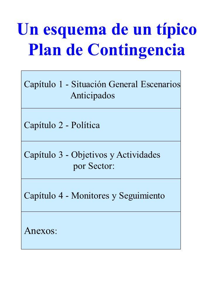 Anexos : Capítulo 4 - Monitores y Seguimiento Capítulo 3 - Objetivos y Actividades por Sector: Capítulo 2 - Política Capítulo 1 - Situación General Es