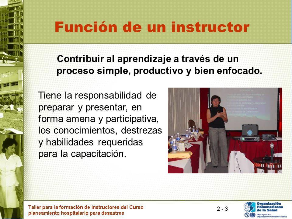3 Función de un instructor Contribuir al aprendizaje a través de un proceso simple, productivo y bien enfocado. Tiene la responsabilidad de preparar y