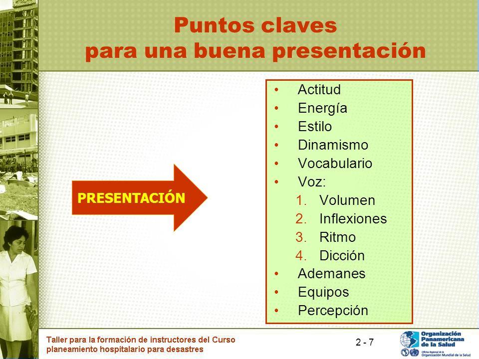 7 Puntos claves para una buena presentación Actitud Energía Estilo Dinamismo Vocabulario Voz: 1.Volumen 2.Inflexiones 3.Ritmo 4.Dicción Ademanes Equip