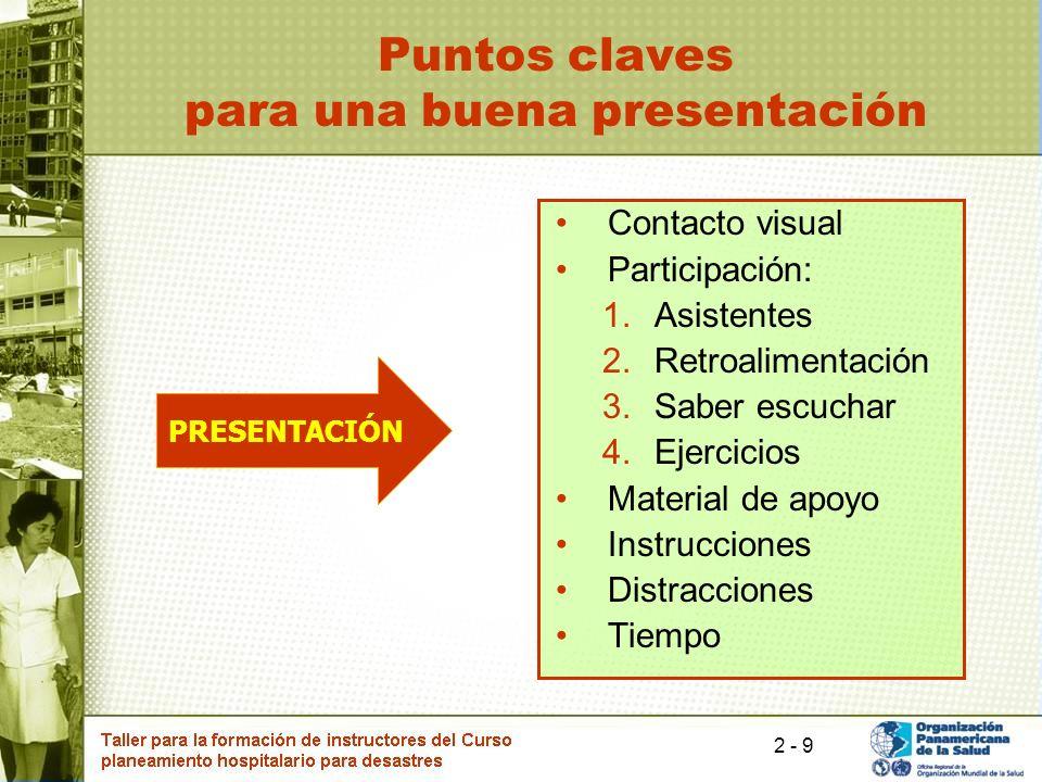 9 Puntos claves para una buena presentación Contacto visual Participación: 1.Asistentes 2.Retroalimentación 3.Saber escuchar 4.Ejercicios Material de