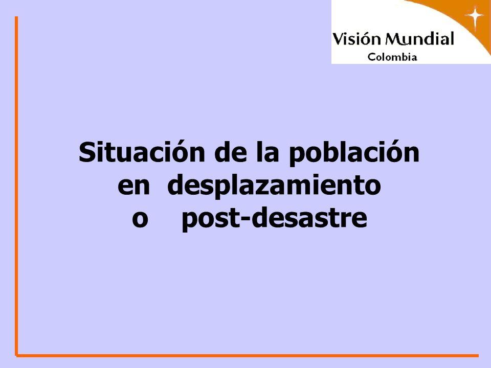 Situación de la población en desplazamiento o post-desastre