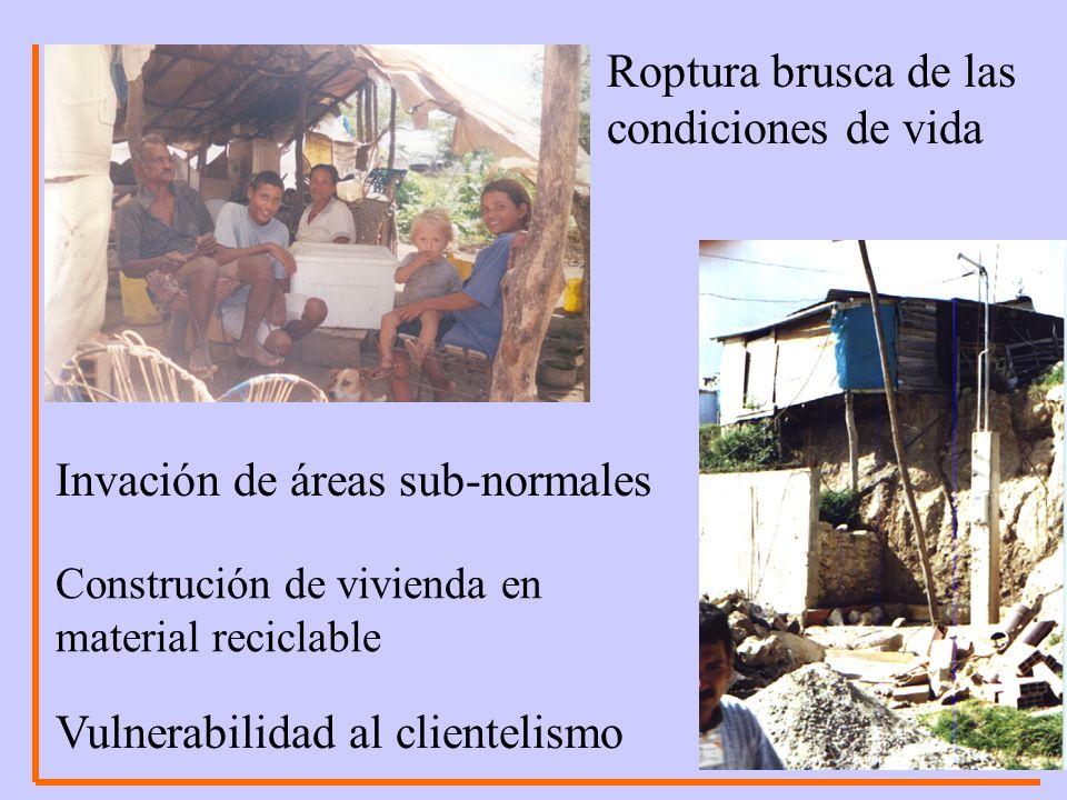 Roptura brusca de las condiciones de vida Invación de áreas sub-normales Construción de vivienda en material reciclable Vulnerabilidad al clientelismo