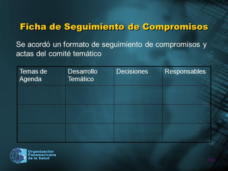 2004 Organización Panamericana de la Salud Términos de Referencia Se concertaron los términos de Referencia de funcionamiento del Comité