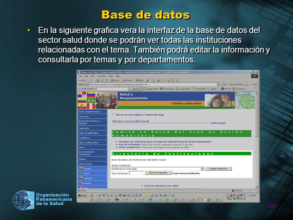 2004 Organización Panamericana de la Salud Base de datos En la siguiente grafica vera la interfaz de la base de datos del sector salud donde se podrán ver todas las instituciones relacionadas con el tema.