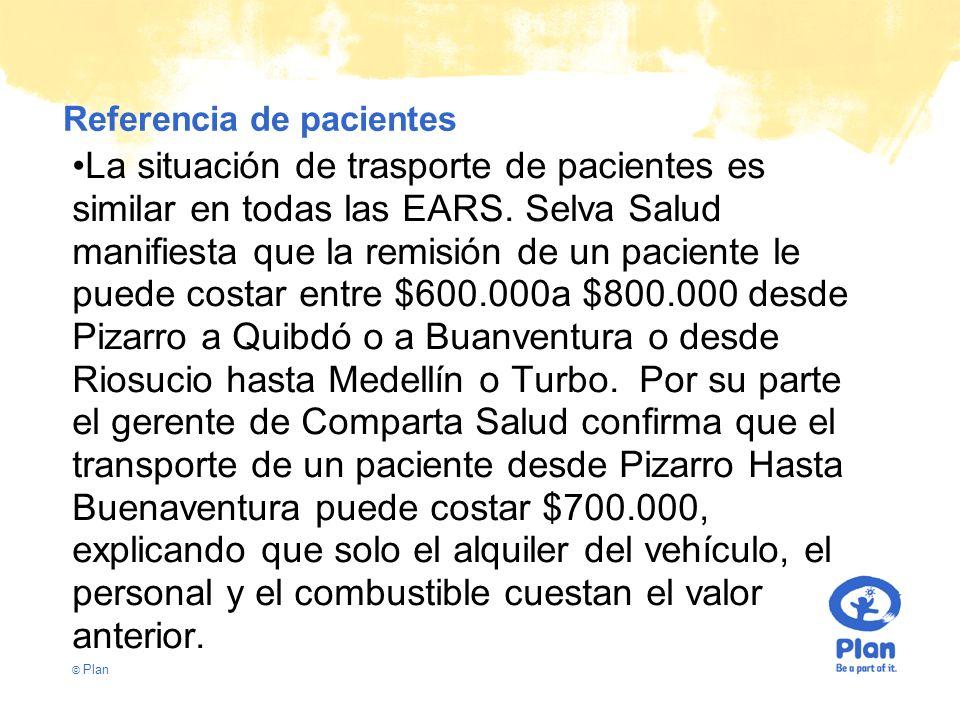 © Plan Referencia de pacientes La situación de trasporte de pacientes es similar en todas las EARS.