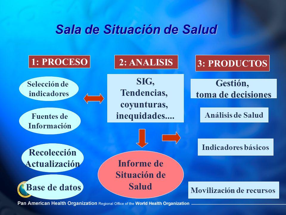 Informe de Situación de Salud Selección de indicadores Recolección Actualización SIG, Tendencias, coyunturas, inequidades.... 1: PROCESO 2: ANALISIS F