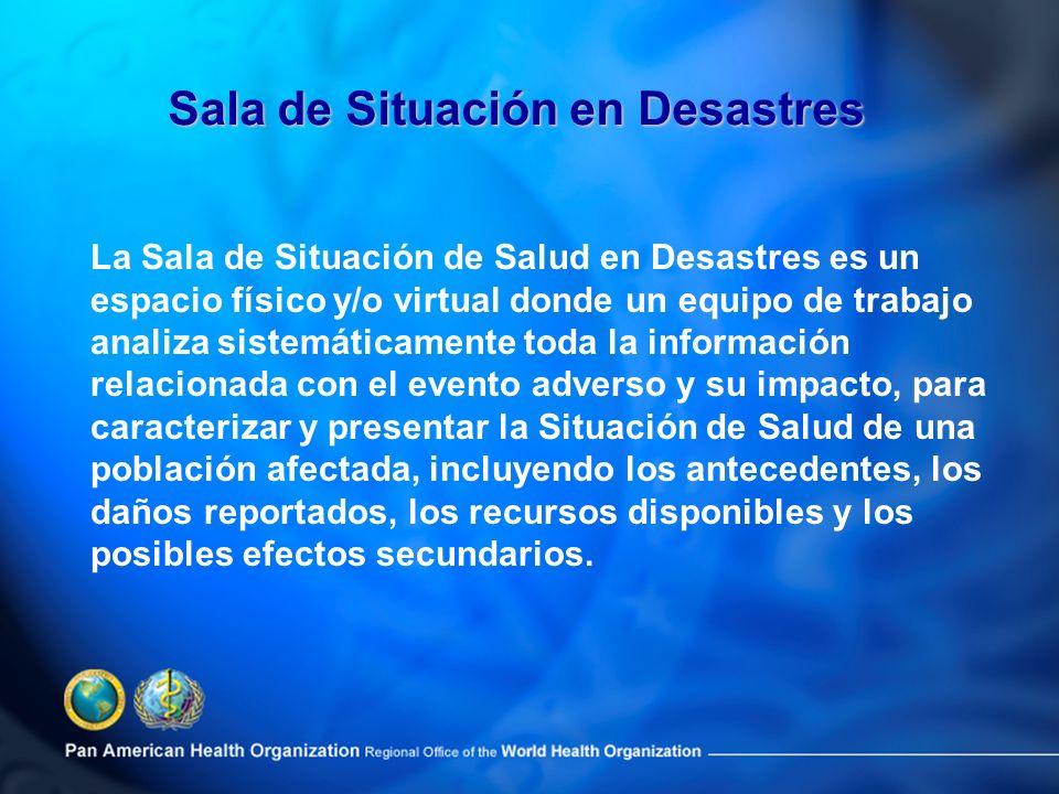 La Sala de Situación de Salud en Desastres es un espacio físico y/o virtual donde un equipo de trabajo analiza sistemáticamente toda la información re