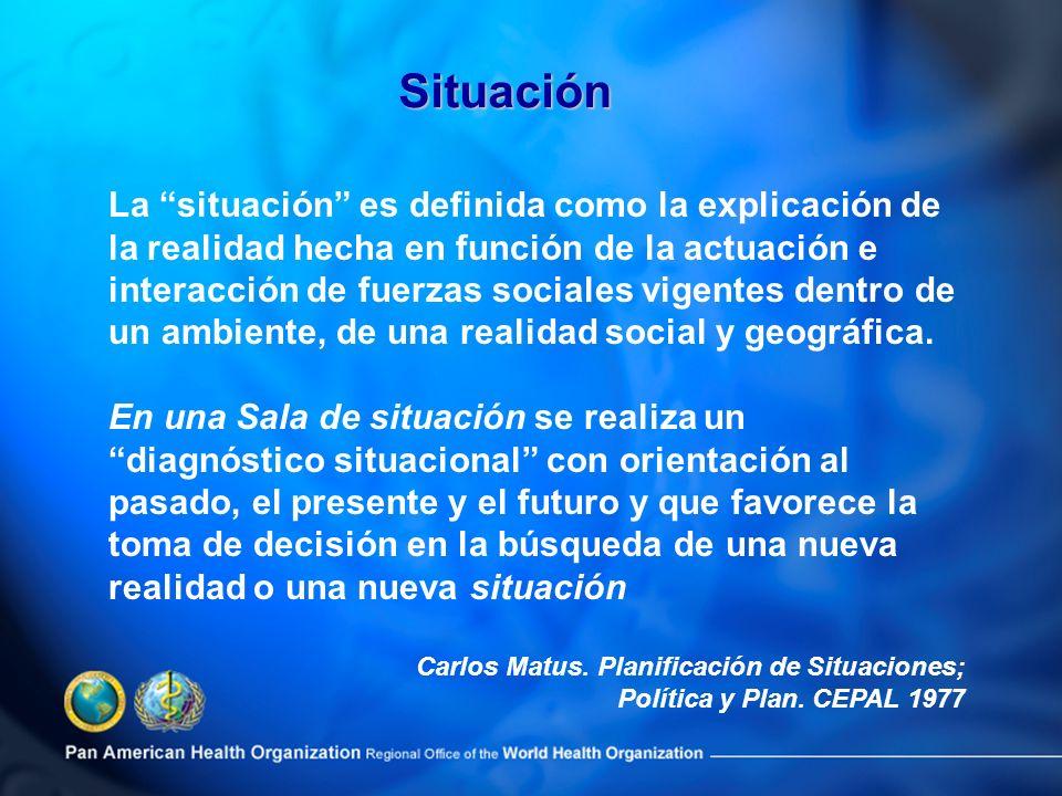 La situación es definida como la explicación de la realidad hecha en función de la actuación e interacción de fuerzas sociales vigentes dentro de un a