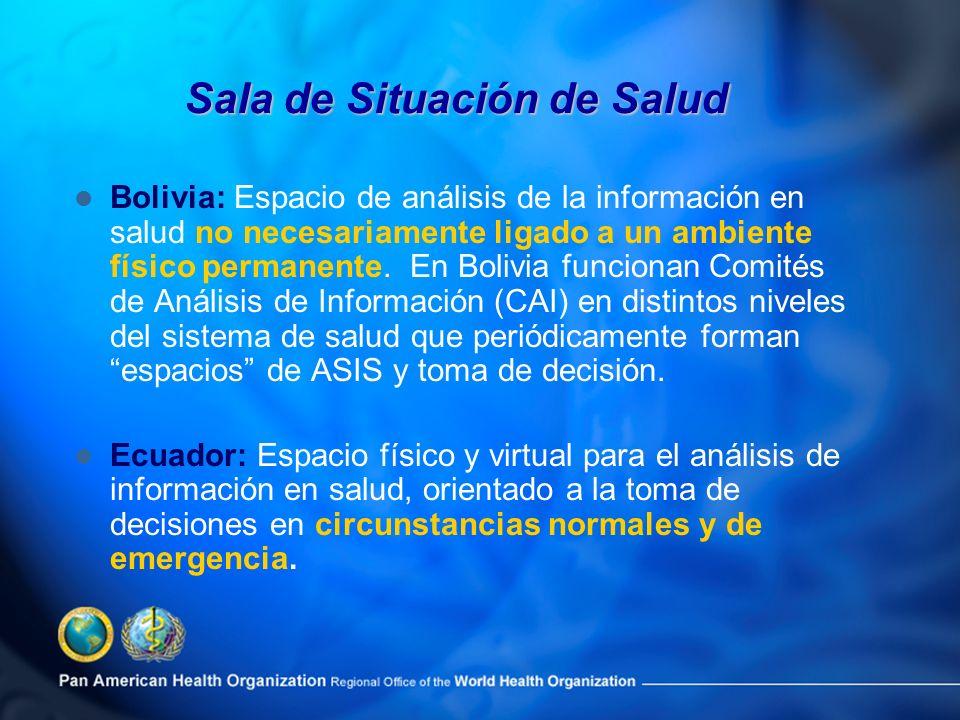 Bolivia: Espacio de análisis de la información en salud no necesariamente ligado a un ambiente físico permanente. En Bolivia funcionan Comités de Anál