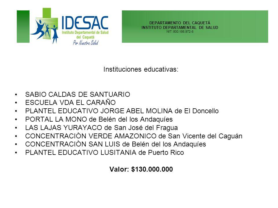 DEPARTAMENTO DEL CAQUETÁ INSTITUTO DEPARTAMENTAL DE SALUD NIT: 800.198.972-6 Instituciones educativas: SABIO CALDAS DE SANTUARIO ESCUELA VDA EL CARAÑO