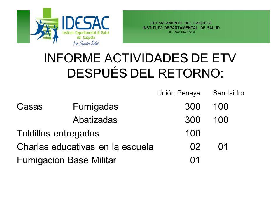 DEPARTAMENTO DEL CAQUETÁ INSTITUTO DEPARTAMENTAL DE SALUD NIT: 800.198.972-6 INFORME ACTIVIDADES DE ETV DESPUÉS DEL RETORNO: Unión PeneyaSan Isidro Ca
