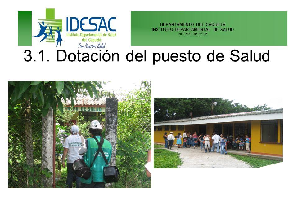 DEPARTAMENTO DEL CAQUETÁ INSTITUTO DEPARTAMENTAL DE SALUD NIT: 800.198.972-6 3.1. Dotación del puesto de Salud