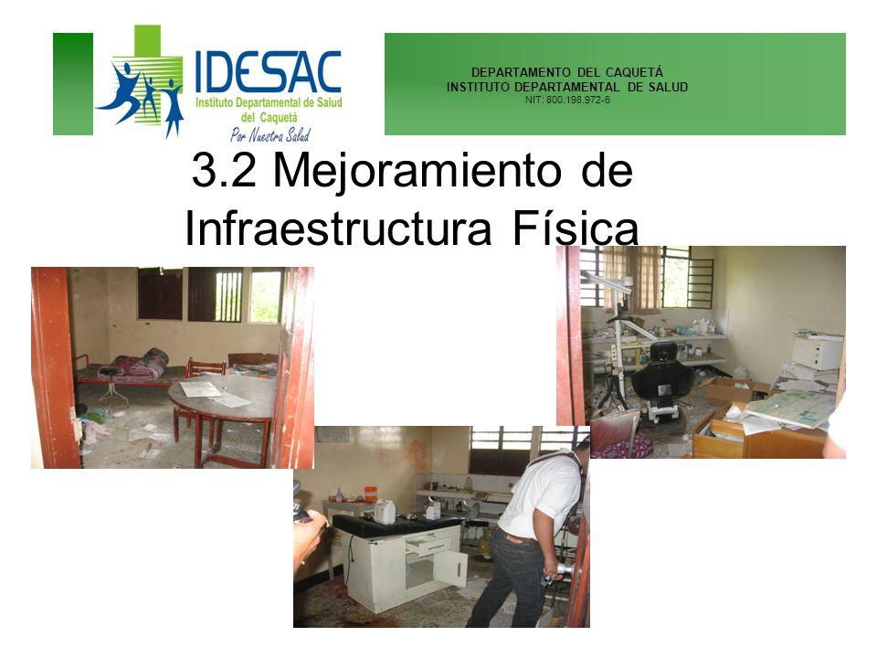 DEPARTAMENTO DEL CAQUETÁ INSTITUTO DEPARTAMENTAL DE SALUD NIT: 800.198.972-6 3.2 Mejoramiento de Infraestructura Física