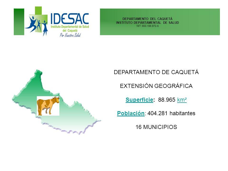 DEPARTAMENTO DEL CAQUETÁ INSTITUTO DEPARTAMENTAL DE SALUD NIT: 800.198.972-6 DEPARTAMENTO DE CAQUETÁ EXTENSIÓN GEOGRÁFICA SuperficieSuperficie: 88.965
