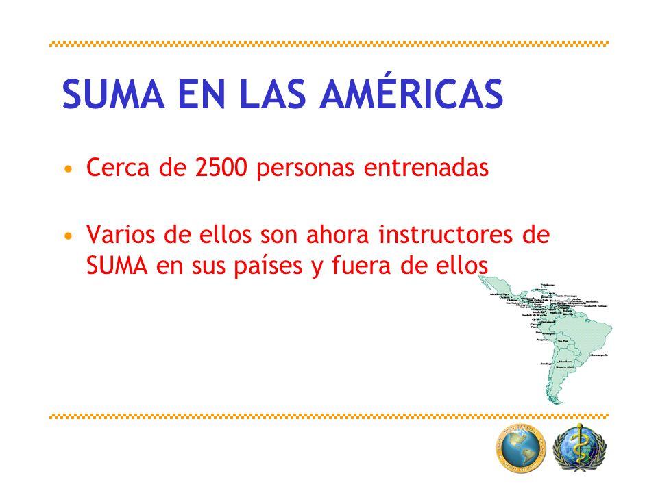 SUMA EN LAS AMÉRICAS Cerca de 2500 personas entrenadas Varios de ellos son ahora instructores de SUMA en sus países y fuera de ellos
