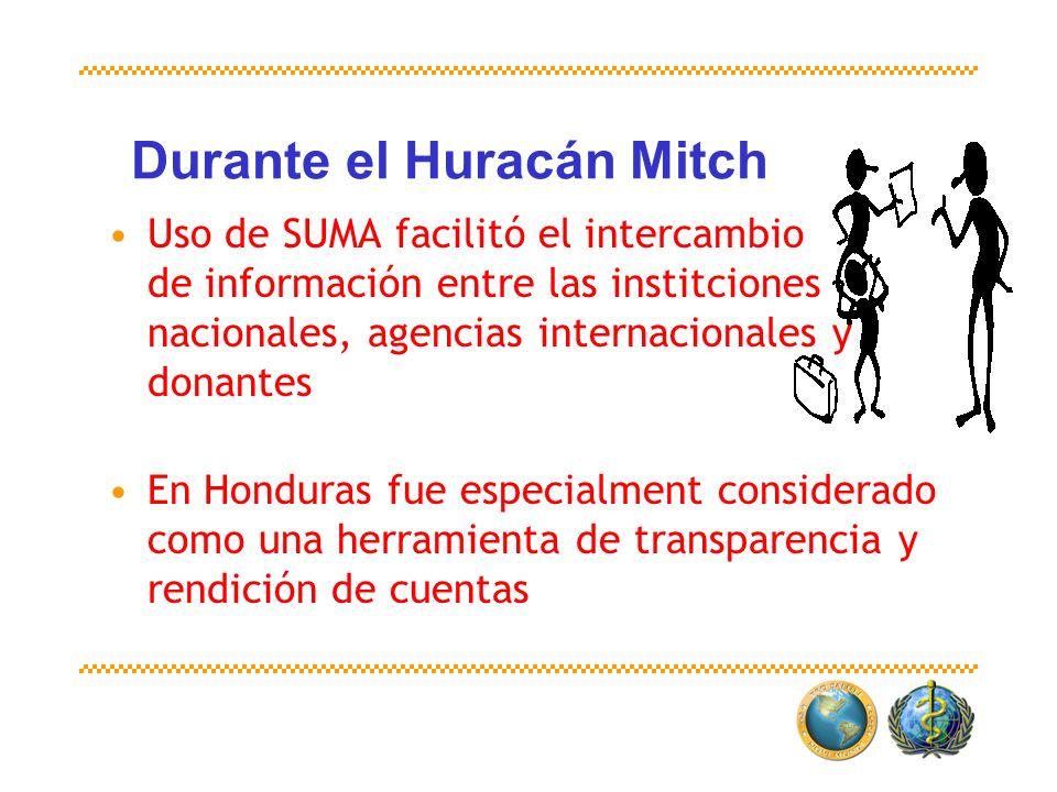 Durante el Huracán Mitch Uso de SUMA facilitó el intercambio de información entre las institciones nacionales, agencias internacionales y donantes En