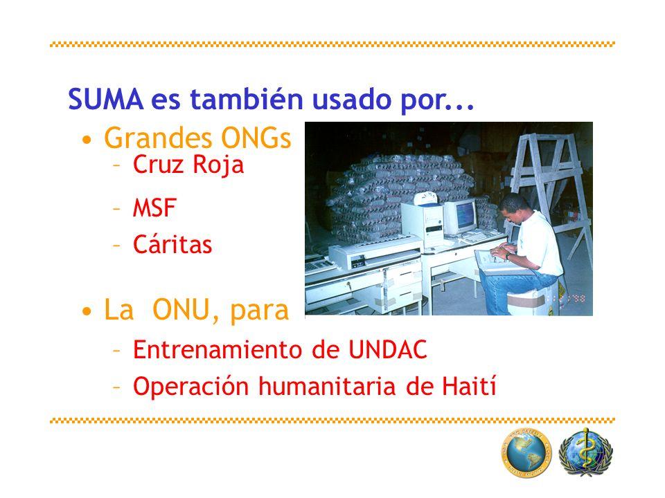 Grandes ONGs –Cruz Roja –MSF –Cáritas La ONU, para –Entrenamiento de UNDAC –Operación humanitaria de Haití SUMA es también usado por...
