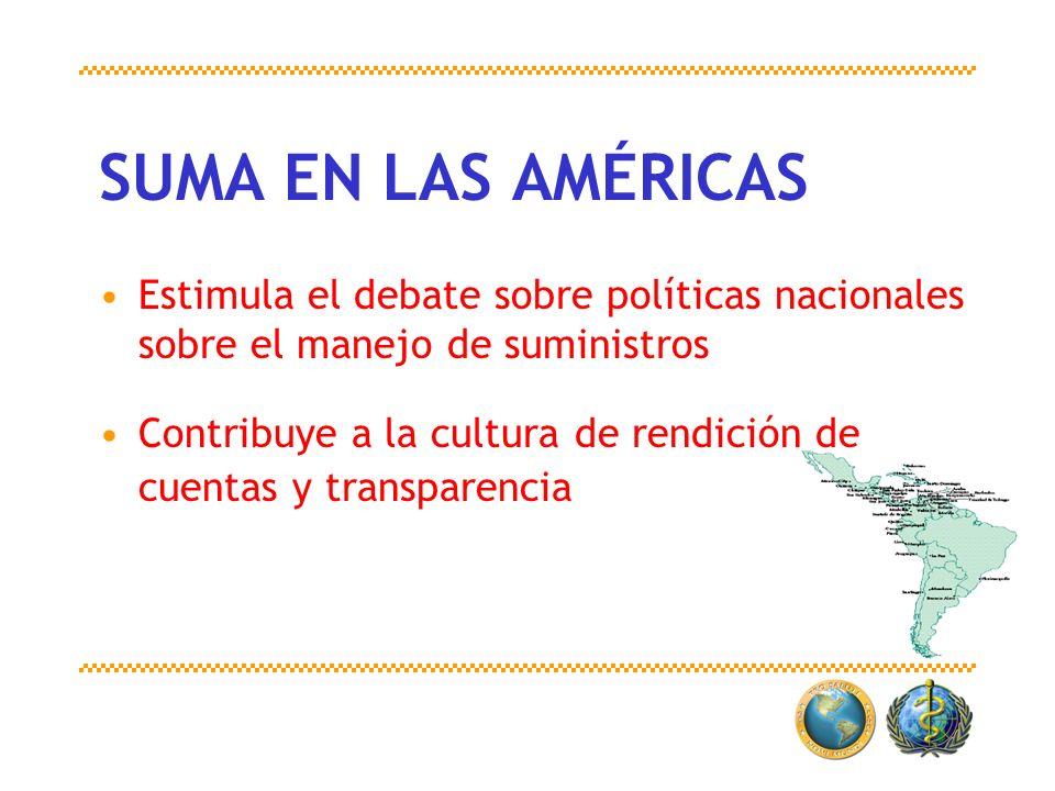 SUMA EN LAS AMÉRICAS Estimula el debate sobre políticas nacionales sobre el manejo de suministros Contribuye a la cultura de rendición de cuentas y tr