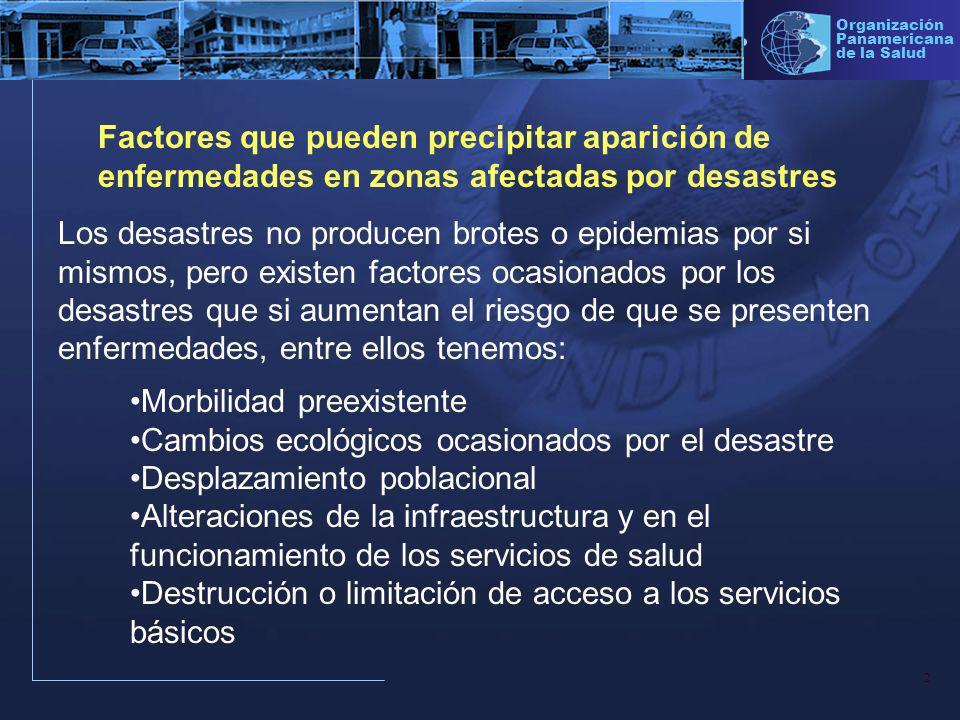 3 Organización Panamericana de la Salud Morbilidad preexistente Los desastres pueden cambiar los perfiles epidemiológicos incrementando los factores para la aparición de enfermedades especialmente transmitidas por el agua y alimentos.