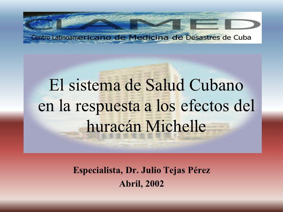 El sistema de Salud Cubano en la respuesta a los efectos del huracán Michelle Especialista, Dr. Julio Tejas Pérez Abril, 2002