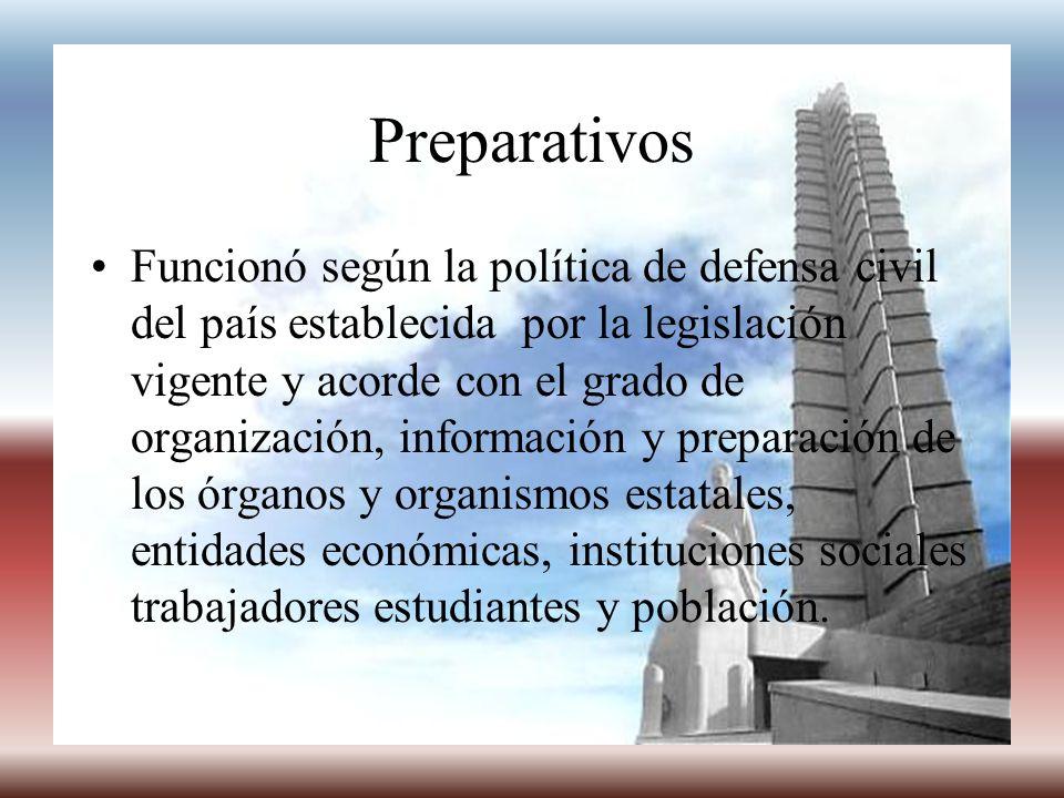 Preparativos Funcionó según la política de defensa civil del país establecida por la legislación vigente y acorde con el grado de organización, inform