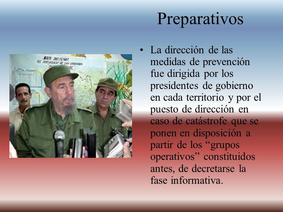 Preparativos La dirección de las medidas de prevención fue dirigida por los presidentes de gobierno en cada territorio y por el puesto de dirección en